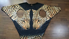 Womens Beaded Party Club Sexy Tigers Animal Print Jersey Tunic Dress sz M AW67