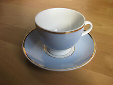 ROYAL DOULTON 'BRUCE OLDFIELD' BLUE & GOLD CUP & SAUCER