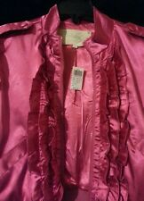 Ashley Zip-Up Cropped Ruffle Front Top Size L