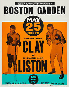 Clay vs Liston - Closed Circuit Television Fight Poster, 8x10 Color Photo