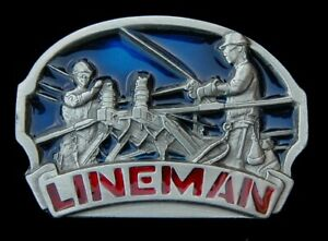 LINEMAN BELT BUCKLE POWER BUCKLES PEWTER US MADE NEW!