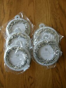 Set of 5:Crate and Barrel Triple Strand Silver Glitter Christmas Garland-New