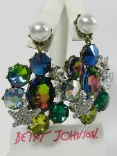 Betsey Johnson Multi Crystal Drop Earrings