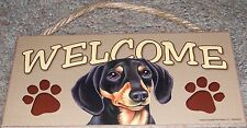 """Welcome (choose breed)"" with pawprints dog pet hanging wooden sign 5"" x 10"""