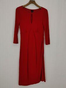 Hobbs Empire Shift Midi Dress Size 12 Burgundy Red Gathered Side Keyhole Neck