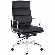 Softpadded High Back Executive Office Chair Reproduction Genuine Leather Black