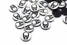 Skull Button Black And White Skull Two Holes Halloween Punk Rock 11mm 100pcs