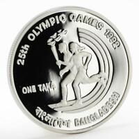 Bangladesh 1 taka 25th Olympic games Barcelona proof silver coin 1992