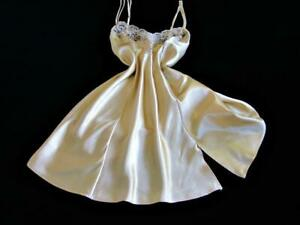 Vintage Victoria's Secret Chemise Gold Bias Satin Lacy M Fitted Flared Nightie