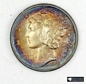 1944 D Mercury Dime 10C Silver Coin Gem BU Rainbow Toned Beautiful Coin #4588