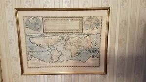 The World in 1589 Ancient world Map in Gold Frame w/Hanger & Information 2'X1.5'