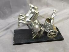 Old Vintage MCM Chrome Statue Art Sculpture Roman Warrior Horses Chariot Man