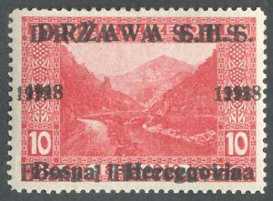 Bosnia, Yugoslavia, SHS, Landscapes, 10h, double overprint