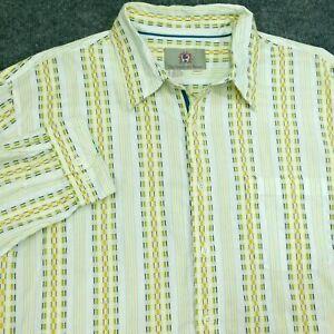 THE TERRITORY AHEAD Shirt White Geometric Cotton INDIA Men's 2XLT Long Tall