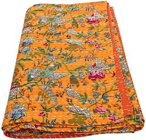 Cotton Kantha Quilts Indian Handmade Reversible Queen Red Bed Cover Boho Ethnic