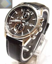 Casio Edifice Analog Chronograp Leather Band EFR-532L-1 Black Watch + Gift New !