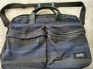 Solo New York blue and grey flannel Computer Bag school sale gift