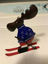 Crate and Barrel Metal Ski Moose Christmas Ornament With Tag