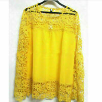 New Tee Tops Women Long Sleeve Shirt Hollow out Flowers Lace Chiffon Blouse