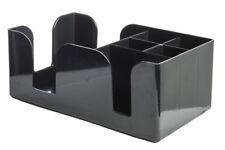 Black Bar Tidy Caddy Napkin Straw Cocktail Stirrer Storage Condiment Holder