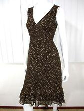 Banana Republic Sleeveless V Neckline Polka Dot Ruffled Hem Dress Size 0 Brown