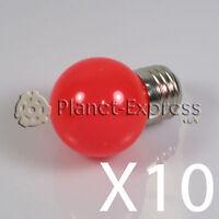 10 x Bombilla 1W LED E27 Rojo 220V 90 lumen Decoracion, ambiente jardin SMD 3014