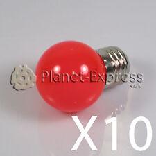 10x Lampada 1W LED E27 Rosso 220V 90 lumen Decorazione,ambiente giardino SMD