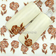 Nail art stickers decals decoration tool fingernails brown decorative flower 053