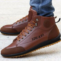 Winter Casual Men's Leather High Top Sneaker Lace-up Work Shoes Ankle Boots Warm