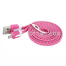 1/2/3M Strong Fabric Braided Flat Micro USB Data Sync Charger Cable For Samsung