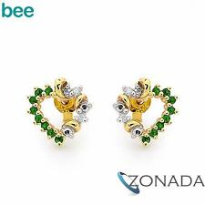 Round Diamond Emerald 9k 9ct Solid Yellow Gold Studs Earrings 55475/G