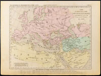 1859. Partage de la Terre aux trois fils de Noë. Carte géographique ancienne