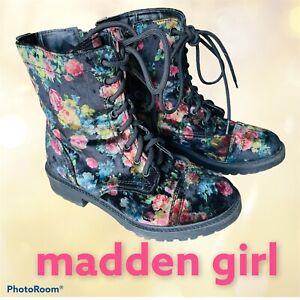 Madden Girl REX Womens Combat Boots Black Velvet Floral 6 M EUC Eloisee Booties