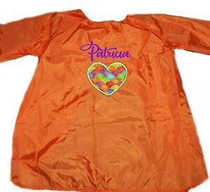 Kids Art Smock | Craft / Art Apron | Personalised | Applique Heart 1st Name FREE