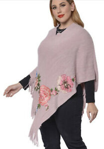 New - Poncho - With Rose Embroidery- & Fringe Hem - very soft