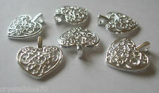 25 x Hearts Filigree Style Charms Bright Silver Plated 17x15mm Crafts Pendants