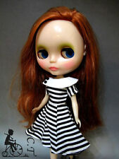 C.C.T Blythe Dal momoko doll outfit blue and white stripe dress c-517