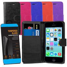Para iPhone 5C casos-Cuero Billetera Abatible Estuche Cubierta + pantalla templado Gafas