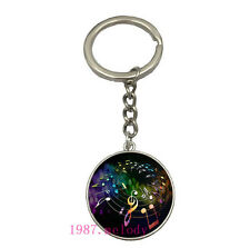 Vintage Glass Cabochon silver Matal Car Key chain ring pendant(music notes)A-104