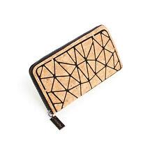 Orchid Bay Women's Geometric Cork Zipper Wallet, Natural Vegan Purse & Clutch