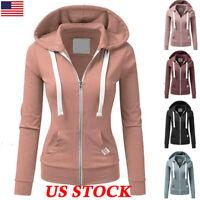 Women Zipper Tops Hoodie Ladies Hooded Sweatshirt Coat Jacket Casual Slim Jumper
