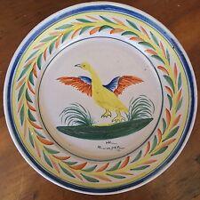 Antique Late 1800's HR Quimper Faïence Handpainted Duck / Goose Dinner Plate