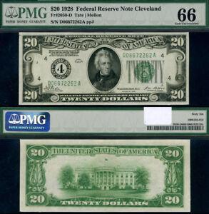 FR. 2050 D $20 1928 Federal Reserve Note CLE D-A Block Gem PMG CU66 Great Emboss