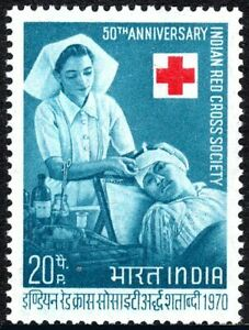 India 527, MNH. Indian Red Cross Society, 50th anniv. 1970