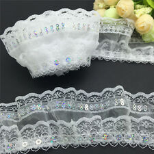 NEW 3 yards 4-Layer White organza Lace Gathered  sequined Pleated  Trim LS50