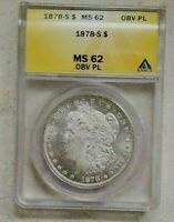1878 S Morgan Silver Dollar ANACS MS62 OBV PL Detail Bright White High Grade Gem