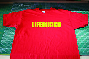 Lifeguard T Shirt, Baywatch, Hoff, Hoffman. Red Fruit of the Loom Size Small