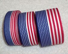 USA Flag Ribbon, 100% Polyester Patriotic Trim, 3 sizes ~ Your Choice ~ July 4th