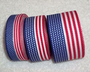 USA Flag Ribbon, 100% Polyester Patriotic 4 sizes ~ Your Choice ~ 4th of July