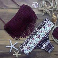 Women's Summer Tassel Tops Floral Bottoms Bikini Sets Ladies Beachwear Swimsuits
